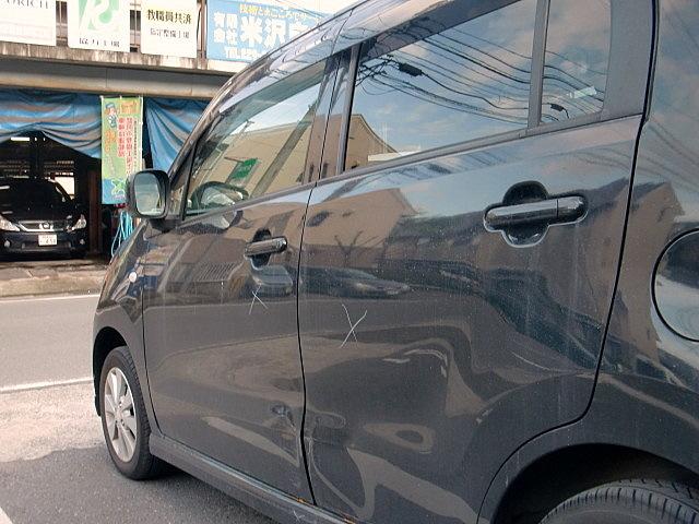 スズキワゴンR 側面の傷 板金塗装修理